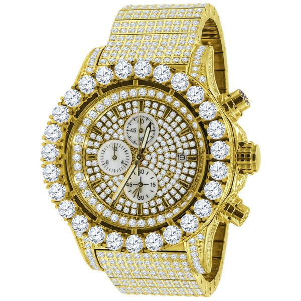 High Quality FULL ICED OUT CZ Stainless Steel Watch - gold