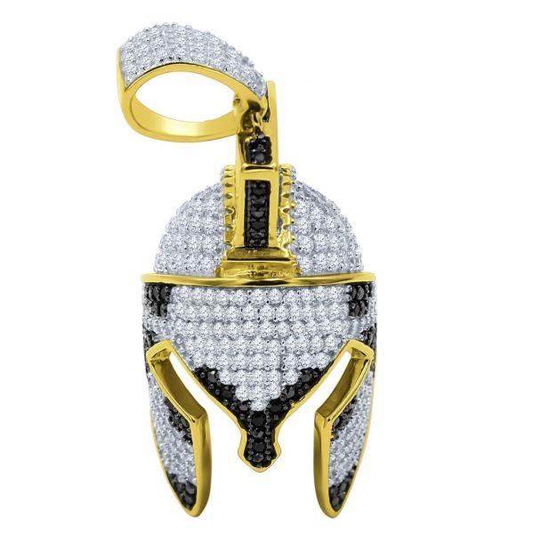 925 Sterling Silver Micro Pave Pendant - Trojan Helmet
