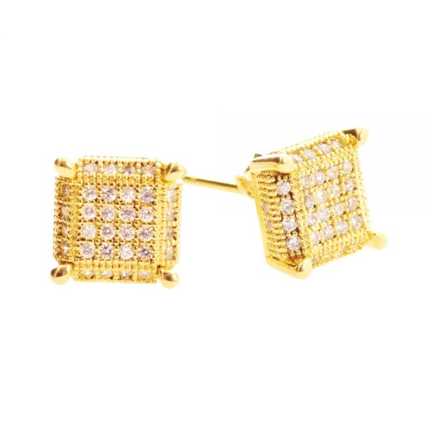 925er Silber MICRO PAVE Ohrstecker - PURE 8mm gold