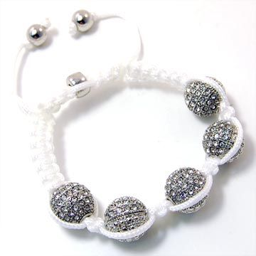 Unisex Bling Armband - DISCO BALL DOUBLE KNOT silber weiß