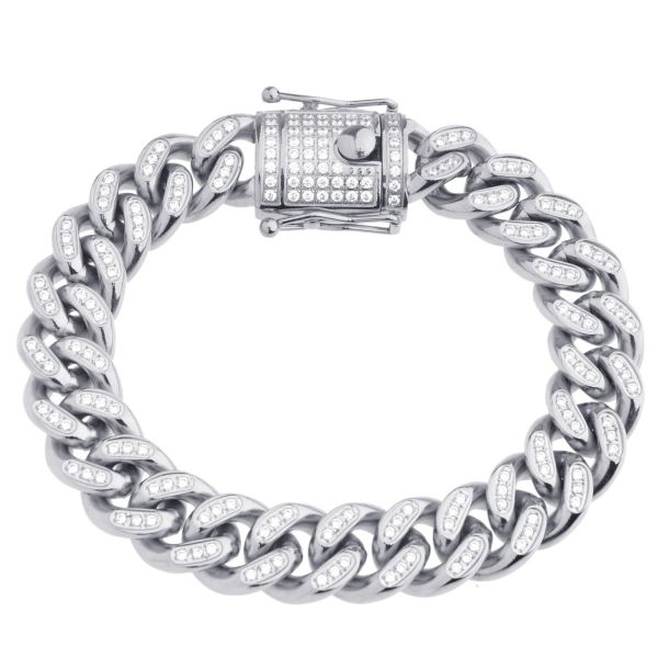 Iced Out Bling Edelstahl Miami Cuban Armband - 14mm