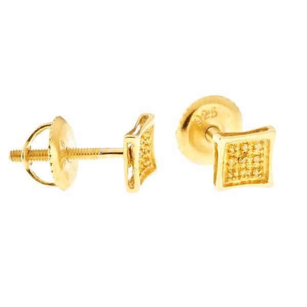 925 Silber Diamant Ohrstecker - KITE SHAPE 0.05ct gold