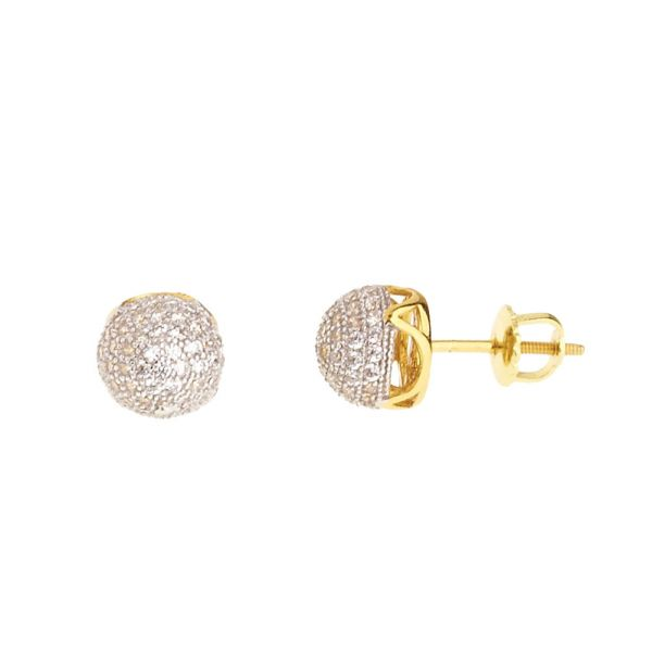 925 Sterling MICRO PAVE Ohrstecker - DOME 8mm gold