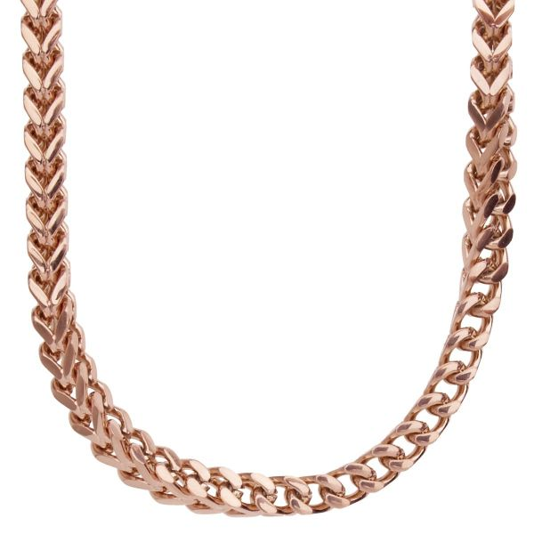 Iced Out Edelstahl BOXED Zirkonia Kette - 6x6mm rose gold