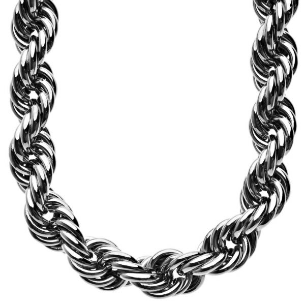 Heavy Solid Rope DMC Style Hip Hop Chain - 16mm hematite