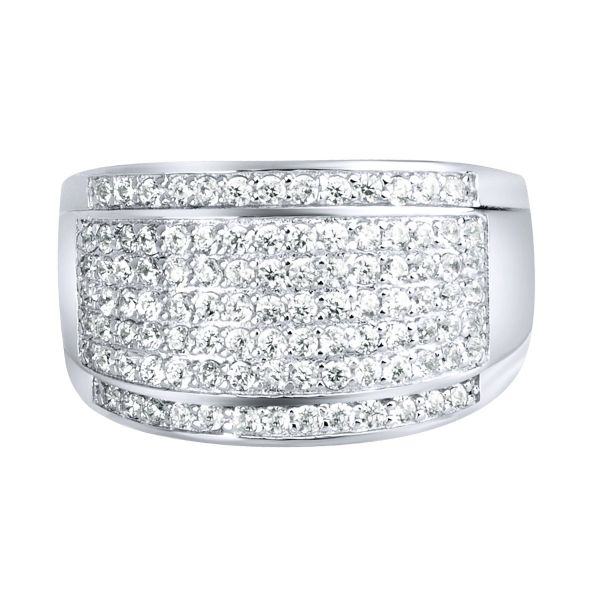Sterling 925er Silber Pave Ring - ROUND ICE