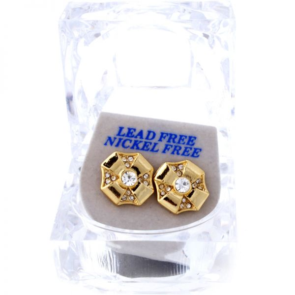 Iced Out Bling Ohrstecker Box - OCTAGON gold