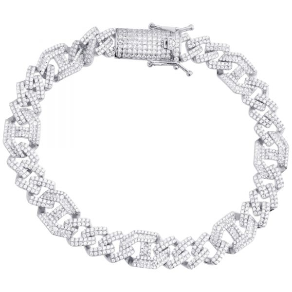 Premium Bling Sterling Silber Armband - CUBAN 10mm