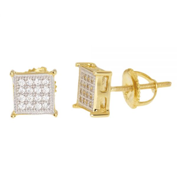 Sterling 925 Silber MICRO PAVE Ohrstecker - SQUARE 7mm gold