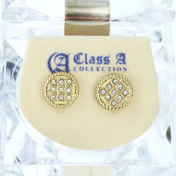 Iced Out Bling Ohrstecker Box - ROUND 10mm gold