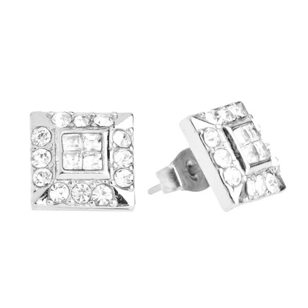 Iced Out Bling Ohrstecker Box - HOT SQUARE silber