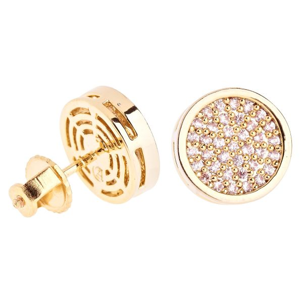 Iced Out Bling Micro Pave Ohrstecker - ROUND 10mm gold