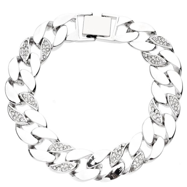Iced Out BOLD CZ Hip Hop Armband - CURB 15mm silber
