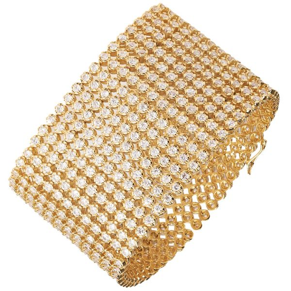 Iced Out Bling Hip Hop Armband - RAPPER 12 ROW gold
