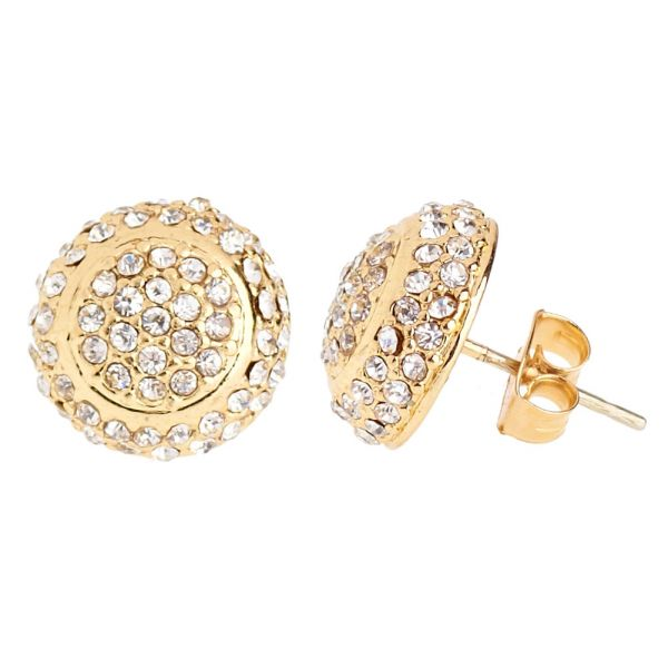 Iced Out Bling Ohrstecker Box - ROUND DOME gold 12mm