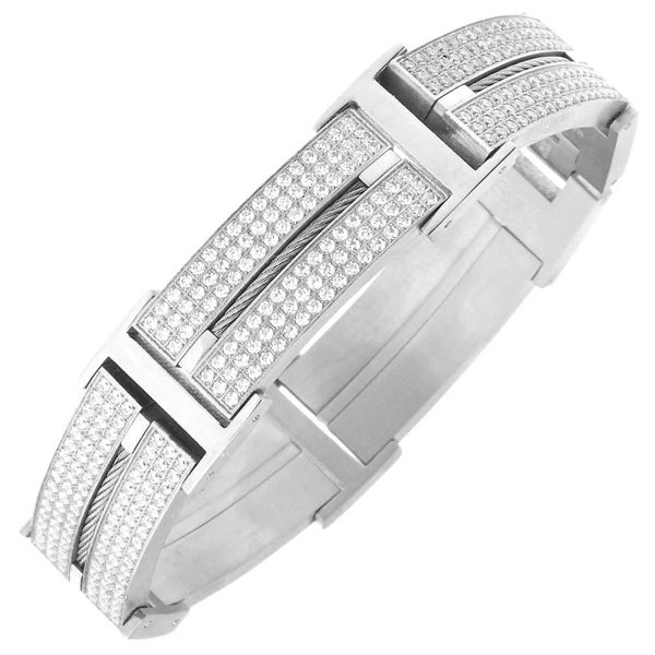 Iced Out Edelstahl DOUBLE CZ Armband - 20mm silber