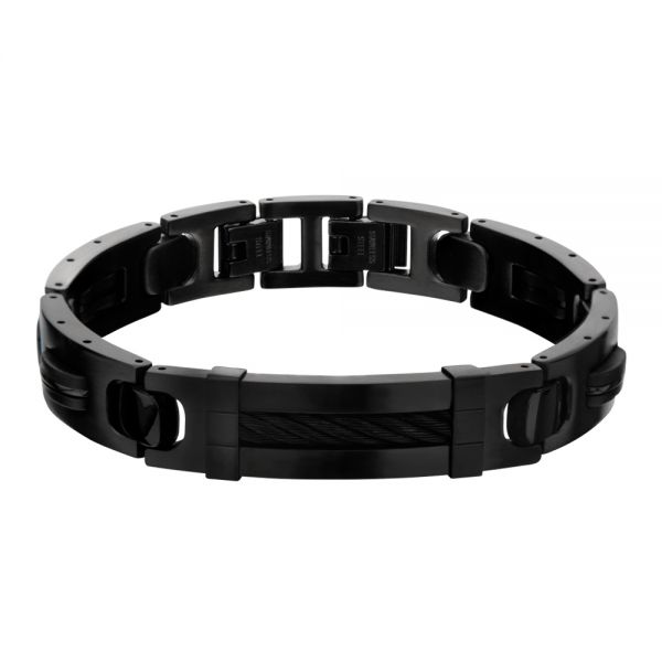 Men's Stainless Steel Matte IP Black Bracelet