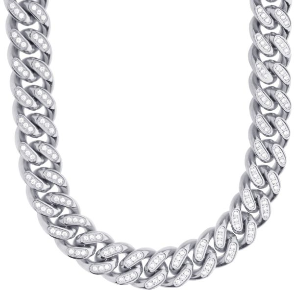 Iced Out Bling Stainless Steel Miami Cuban Chain - 14mm