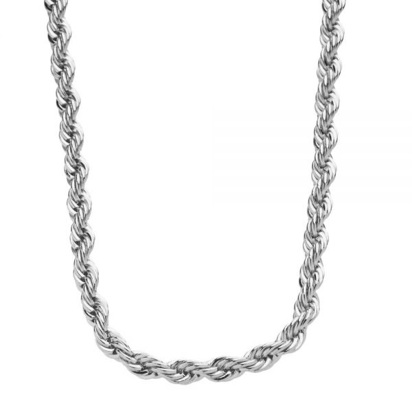 Iced Out Bling Hip Hop Rope Chain - 4mm - silver
