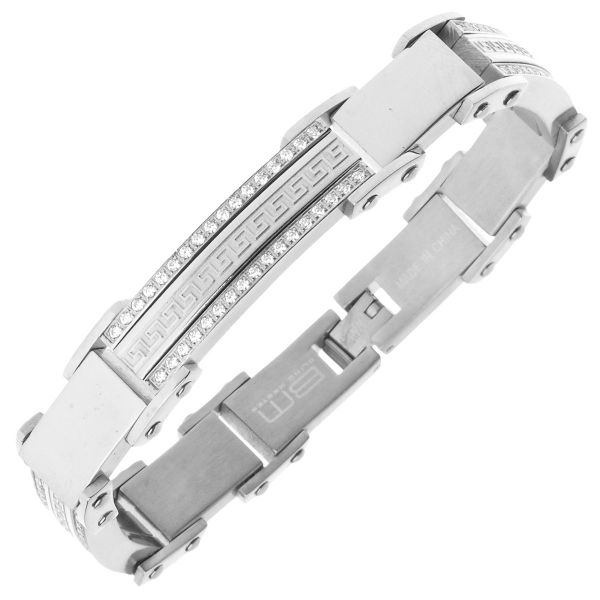 Iced Out Stainless Steel Micro Pave CZ Bracelet - 11mm