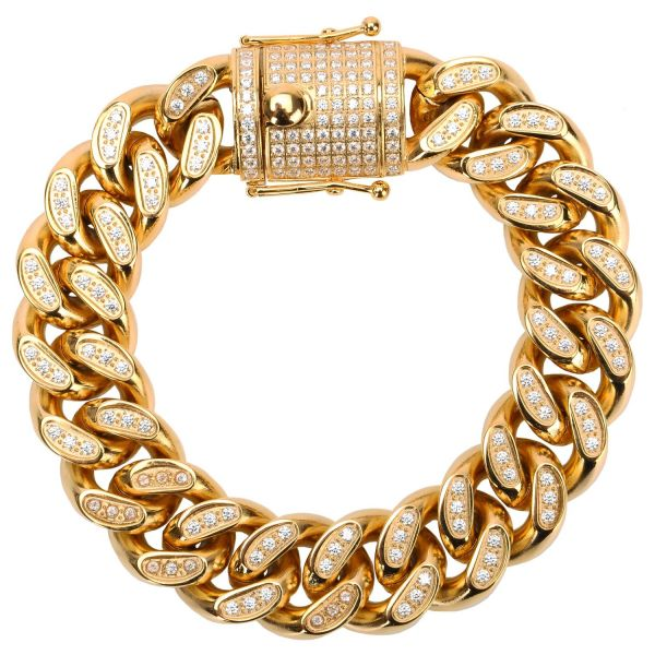 Iced Out Stainless Steel CZ Bracelet - CUBAN 18mm gold