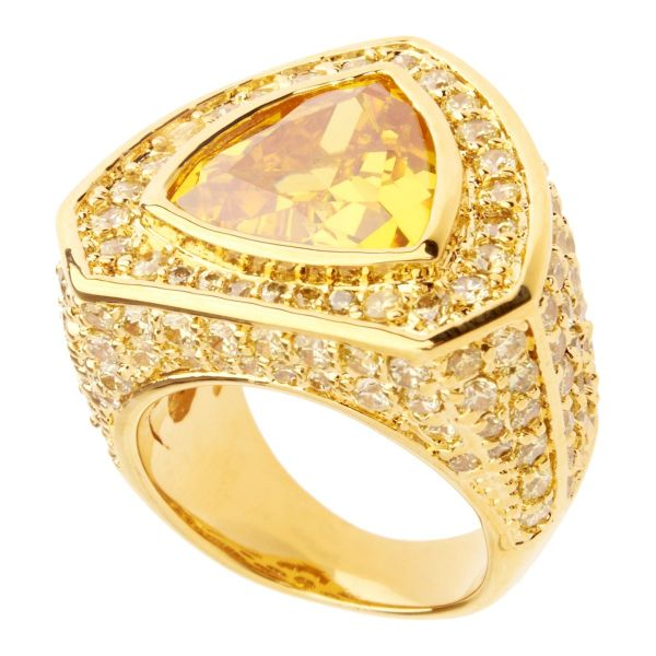 Iced Out Bling Micro Pave Ring - TRILLION gold / lemon