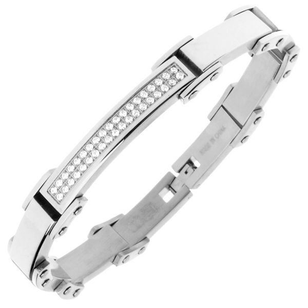 Iced Out Stainless Steel Micro Pave CZ Bracelet - 8mm silver