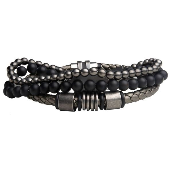 Stax Herren Armbänder - Onyx Beads, Graues Antique Leder
