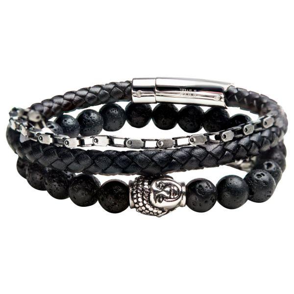 Stax Herren Armbänder - Leder, Box Kette, Lava und Buddha