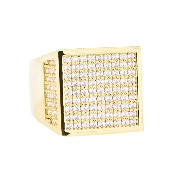 Iced Out Bling Hip Hop Designer Ring - CUBE 15mm gold