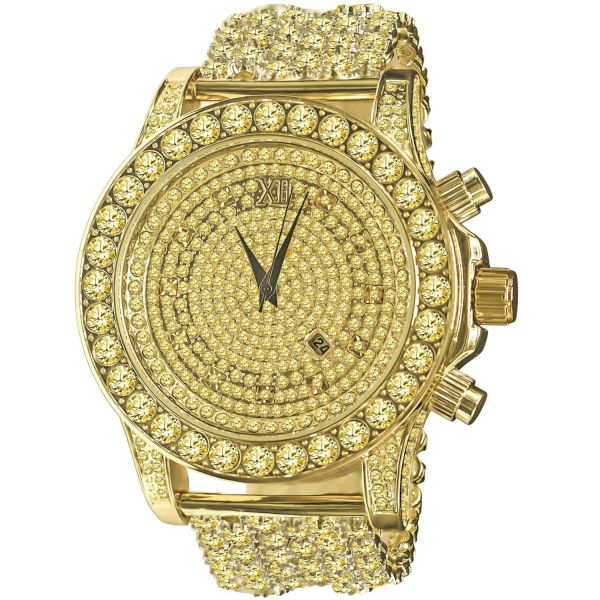 BURNISH High Quality FULL ICED OUT ZIRKONIA Uhr - gold