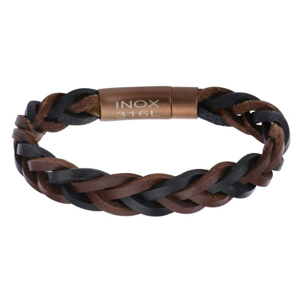 Men's Black and Brown Braided Leather Bracelet