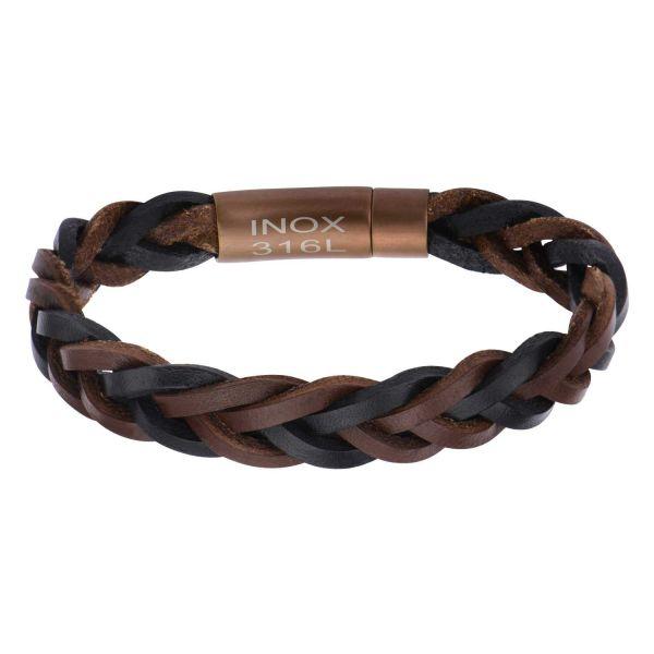 Herren Schwarz Braun Braided Leder Armband