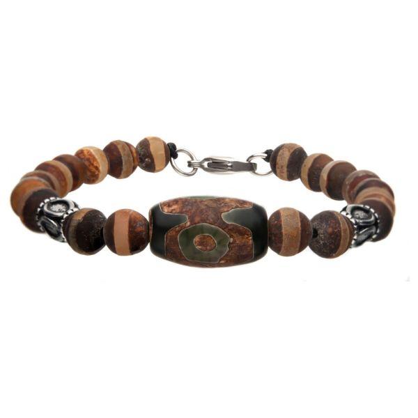 Dzi Edelstahl Armband mit Tibetischer Perle und Agate Stein