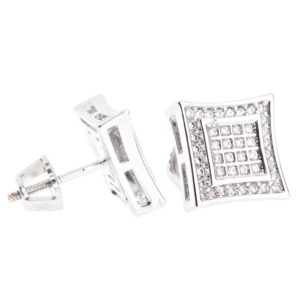 Iced Out Bling Micro Pave Ohrstecker - SQUARE 10mm