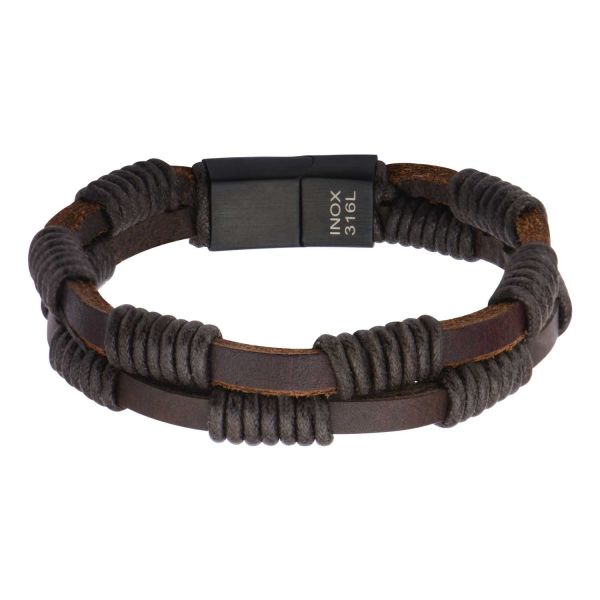 Men's Double Strap Brown Leather Bracelet Wrapped