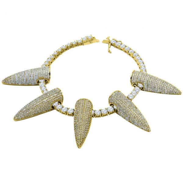 Iced Out Bling 4mm Zirkonia 21cm Armband - SPIKES gold