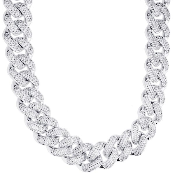 ICED OUT Cuban Link Bling Necklace - 18mm silver