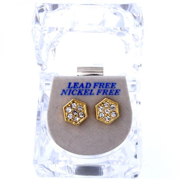 Iced Out Bling Ohrstecker Box - SIX ANGLE gold