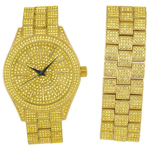Full Iced Out Bling Watch Bracelet Set - gold / gold