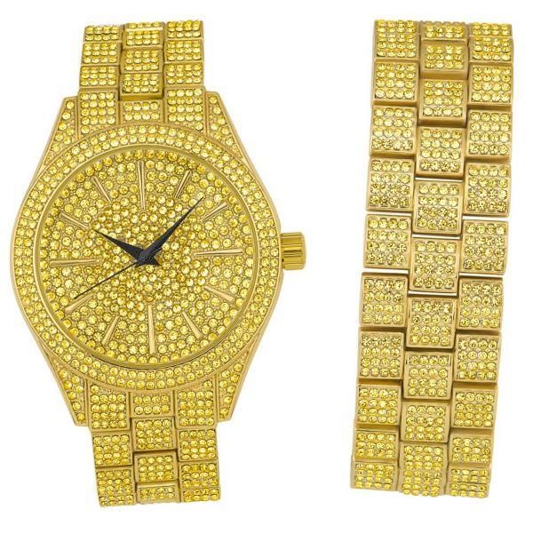 Full Iced Out Bling Uhr Armband Set - gold / gold