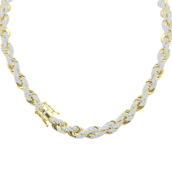 Iced Out Bling Zirconia Rope Chain - CZ 10mm gold