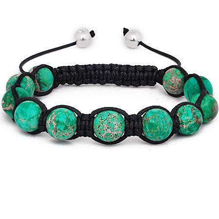 Unisex Marcrame Armband - GREEN STONE
