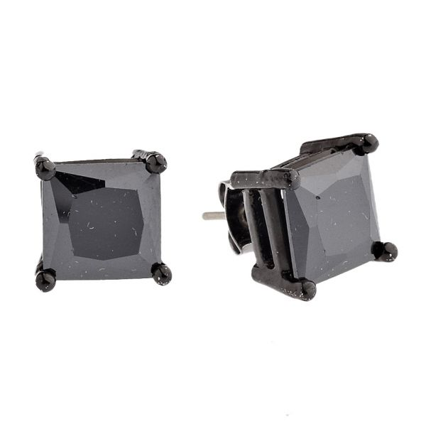 Iced Out Bling Square Zirconia Ear Studs - black 9mm
