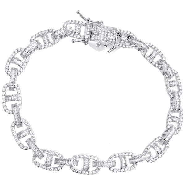 Premium Bling Sterling Silber Armband - G-LINK 10mm