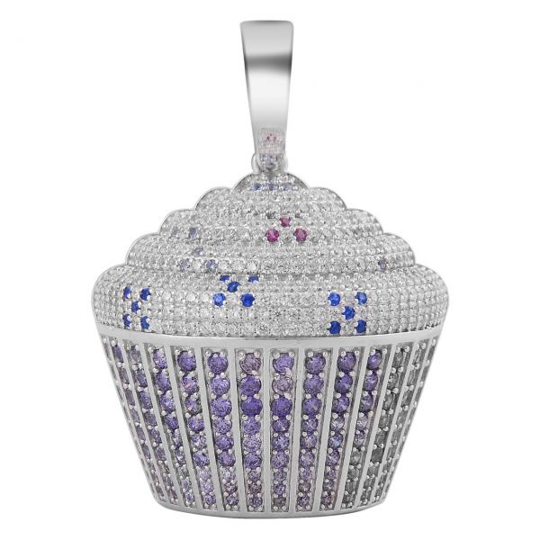 925 Sterling Silver Micro Pave Pendant - CUP CAKE