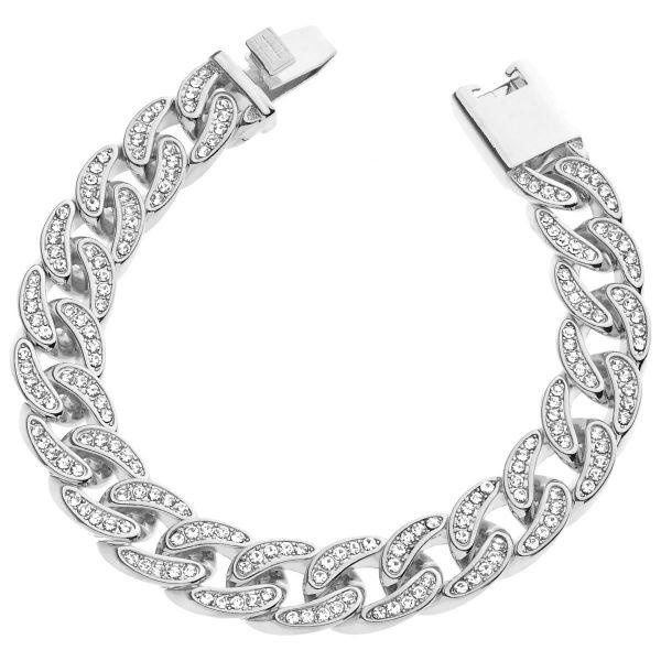 Iced Out Curb Bracelet - CUBAN CZ 15mm silver