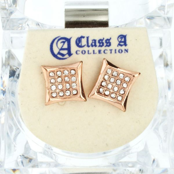 Iced Out Bling Ohrstecker Box - KITE 10mm rose gold