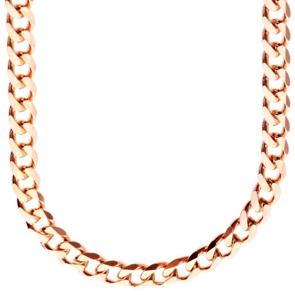 Sterling 925er Silber Panzerkette - CURB 7,4mm rose gold