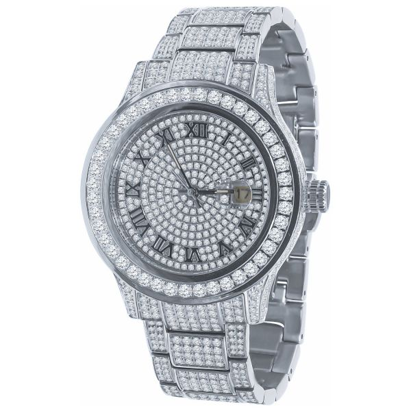 High Quality Iced Out Zirkonia Edelstahl Uhr - silber